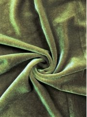 Velvet/Velour 4 Way Stretch Spandex Lycra- Olive Green Q559 OLV