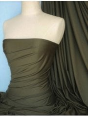 Viscose Cotton Stretch Lycra Fabric- Dark Khaki Q300 DKH