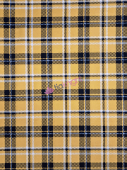 Cotton Lycra Jersey 4 Way Stretch Fabric- Mean Girl Tartan Sunflower Yellow SQ556 YL