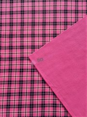 Polar Fleece Double Sided Anti Pill Washable Soft Fabric- Pink Tartan SQ553 PNBKWHT