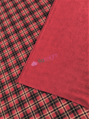 Polar Fleece Double Sided Anti Pill Washable Soft Fabric- Red Tartan SQ553 RDBKWHT