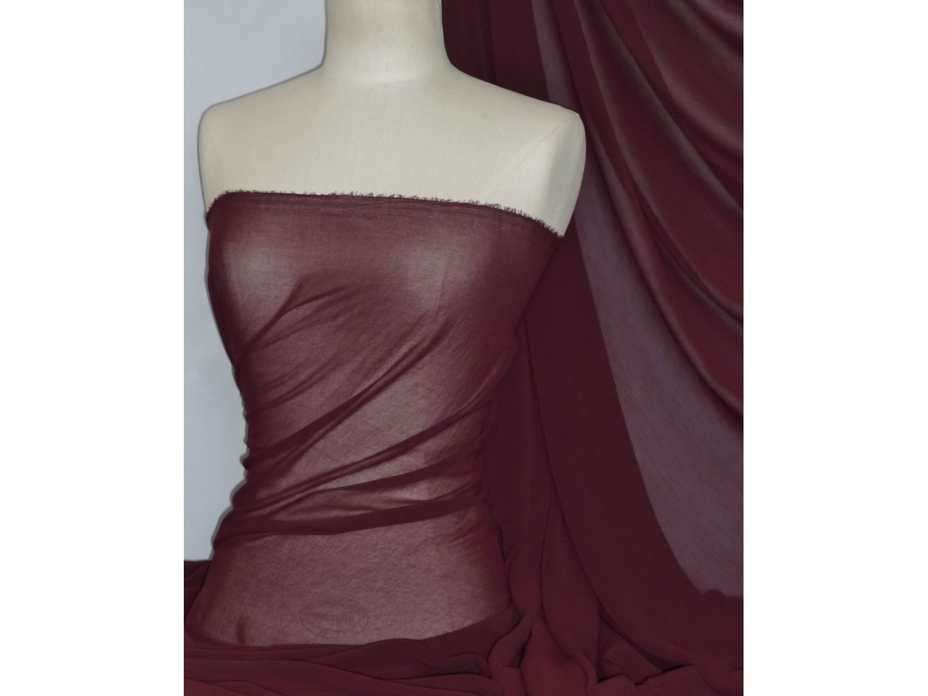Crinkle Sheer Chiffon Material- Wine Q795 WN